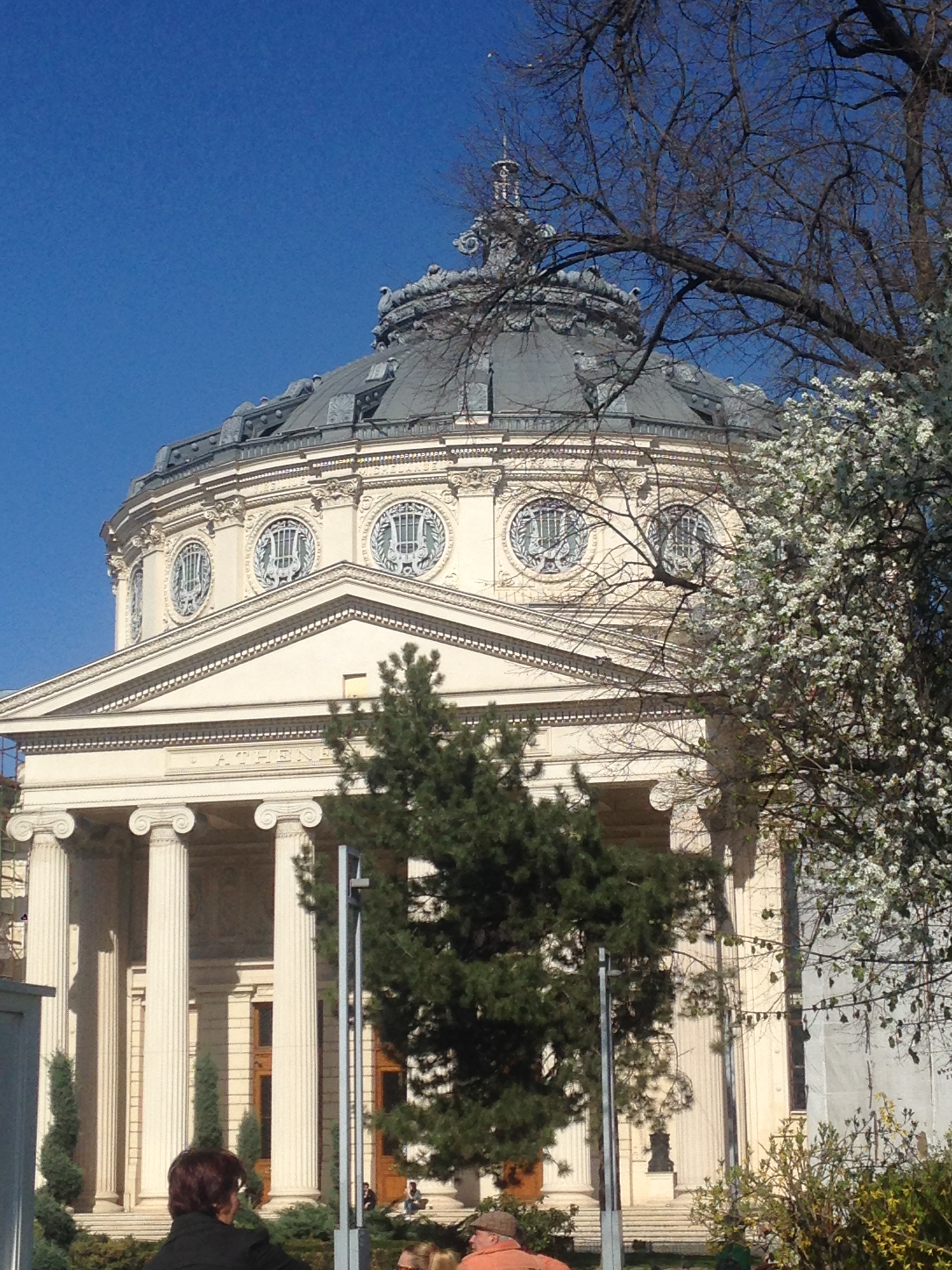 Particolare architettonico in stile neoclassico con frontone, colonne e capitelli ionici